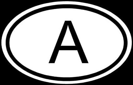 Sticker oval flag vinyl country code A austria