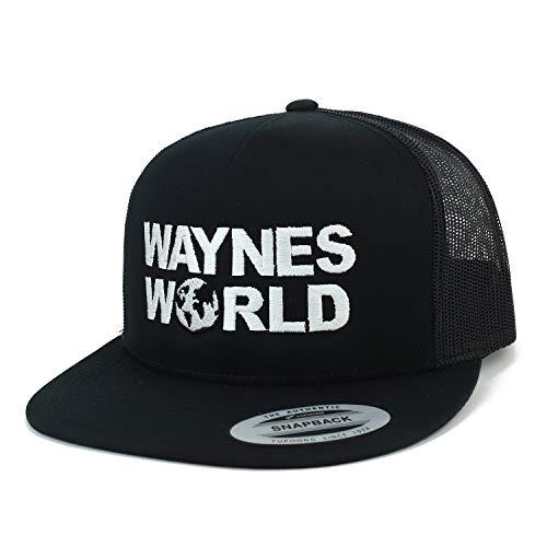 Armycrew Wayne's World Embroidred Flatbill 5 Panel Trucker Mesh Cap - Black ()