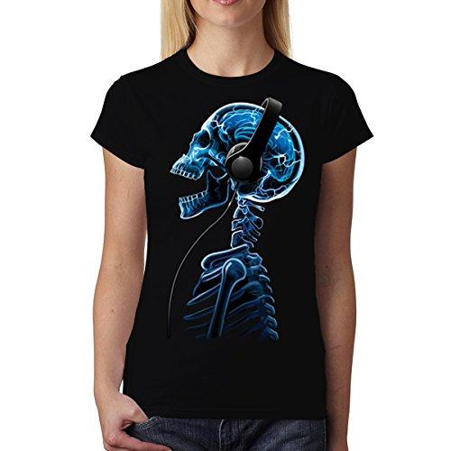 Esqueleto Cráneo Auriculares Música Mujer Camiseta XS-2XL Nuevo Negro