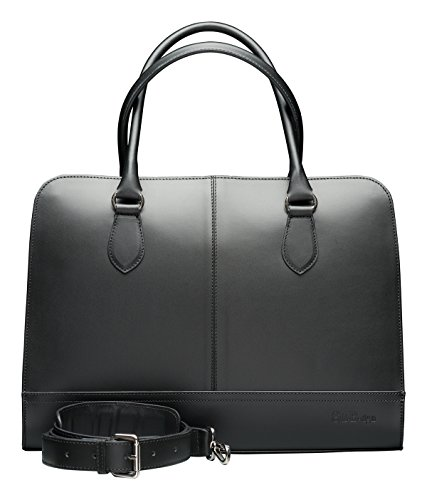 Su.B.dgn Designer 15.6 Inch Laptop Handbag Messenger Bag for Women | Genuine Italian Leather | Professional, Vertical Shoulder Tote | Computer, PC, Notebook, MacBook | Black by Su.B.dgn