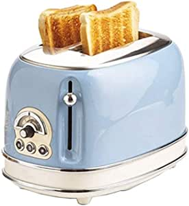 Mopoq Simplicity Multi-Function Bread Toaster PTC Uniform Heating Adjustable Strong 2 Slice Toaster Removable Crumb Tray Defrost Reheat Cancel Function Anti-Card Design (Color : Blue)