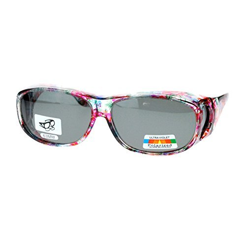Polarized Sunglasses Fit Over Glasses Oval Rectangular OTG Anti-Glare (floral, black)