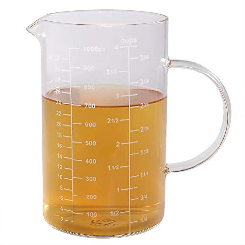 Glass Measuring Cup, [Insulated handle, V-Shaped Spout], 77L High Borosilicate Glass Measuring Cup for Kitchen or Restaurant, Easy To Read, 1000 ML (1 Liter, 4 Cup) ()