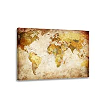 "Pictures on canvas length 31,5"" height 24"" Nr 4139 map of the world ready to hang, brand original Visario !"