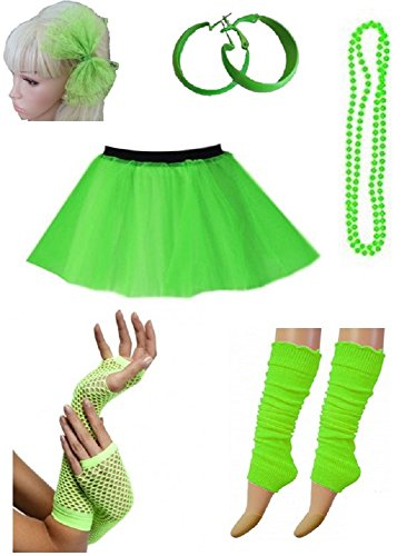 PartyStarz Womens 80s Costume Outfit Accessories -Tutu Skirt, Leg Warmers, Mesh Gloves, Bead Necklace, Hoop Earrings, Hair Bow ()