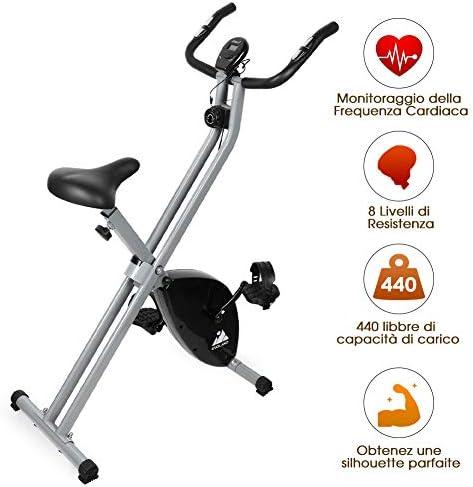 EVOLAND Bicicleta Estática Plegable, Bicicleta Estática de Fitness 8 Niveles de Resistencia Magnética con Monitor Rítmo Cardíaco para Ejercicio Entrenamiento en Casa, MAX hasta 200 kg: Amazon.es: Deportes y aire libre