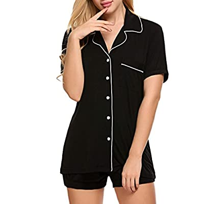 Ekouaer Pajamas Set Short Sleeve Sleepwear Womens Button Down Nightwear Soft Pj Lounge Sets XS-XXL at Women's Clothing store