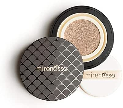 Mirenesse 10 Collagen Cushion Compact Airbrush Foundation Liquid Powder, Buildable Coverage, Instantly Flawless & Glowing Skin, Vegan & Toxin Free, Vanilla 0.52oz