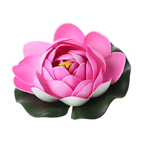 cici store 1 PC Artificial Fake Floating Water Lotus Flower - Plastic Flower Fish Tank Pond Yard Decor Ornament (Pink)