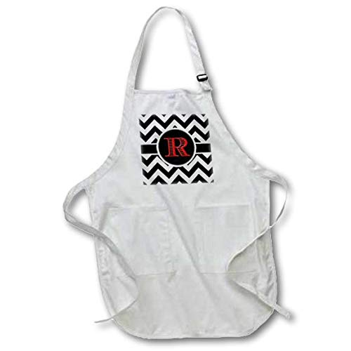 3D Rose Black and White Chevron Monogram Red Initial R Medium Length Apron with Pouch Pockets 22 x 24