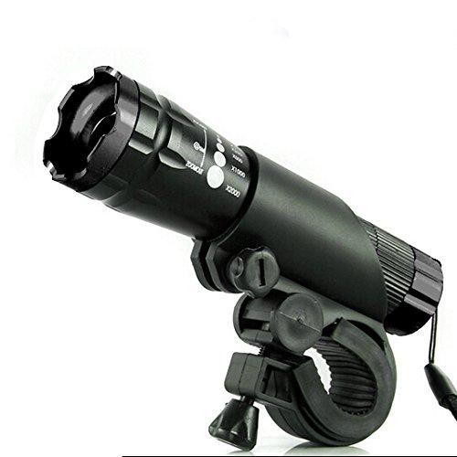 サイクルライト 自転車 LED 照明 高輝度フロントライト ライトホルダー付き MINO Creates カラビナセット (ブラック)