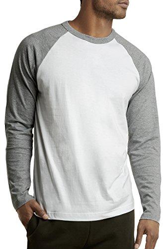 DailyWear Mens Casual Long Sleeve Plain Baseball Cotton T Shirts (LT.Grey/White, Large)