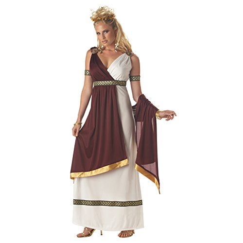 Halloween Greek Goddess Costume (California Costumes Women's Roman Empress Costume,White/Burgundy, Medium)