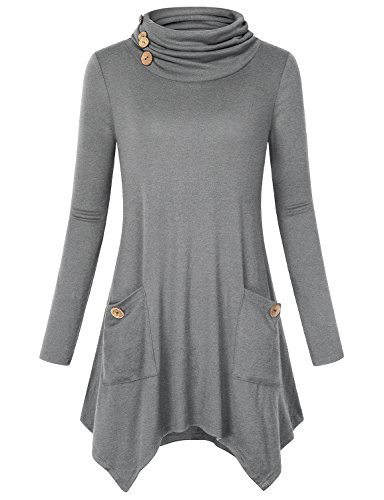Hibelle Tunics with Pockets for Women, Cowl Neck Long Sleeve Plain Shirt Loose Asymmetric Hem Blouses Casual Wear Ruched Shift Tops Leggings with Button Trim Gray Medium