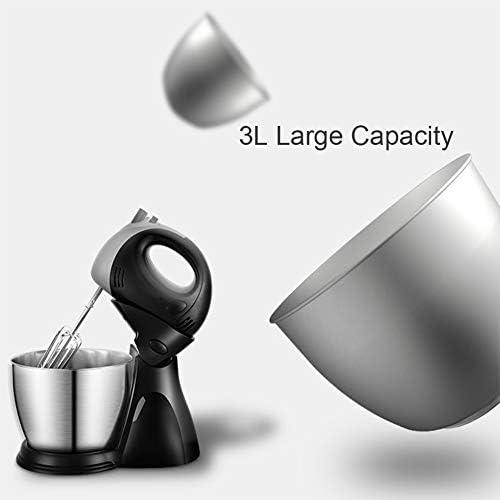 Hand Mixer Haushalts-Desktop mit 5 Geschwindigkeit, 3L Große Kapazität, 200W Hochleistung, Optimierter Komfortgriff Handheld und Stand Two Modi (Schwarz)