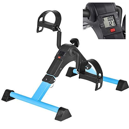 Under Desk Bike Pedal Exerciser with LCD Monitor Resistance and Resistance for Seniors, Stationary Foldable Mini…