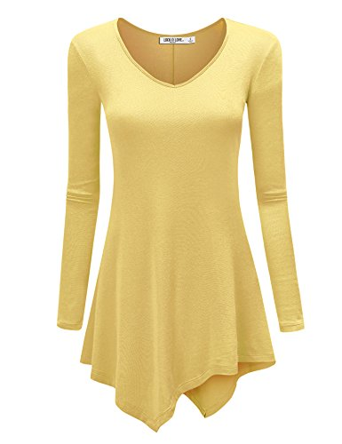 (WT960 Womens V Neck Long Sleeve Tunic Top With Asymmetrical Hem XL Yellow)