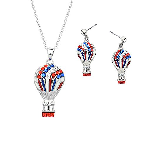 Air Balloon Hot Rides - Lola Bella Gifts Crystal Hot Air Balloon Necklace and Earrings Set with Gift Box