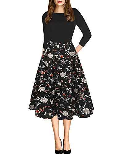 oxiuly Women's Elegant 3/4 Sleeve Floral Patchwork with Pockets Casual Dress OX165 (S, Black FPT7)