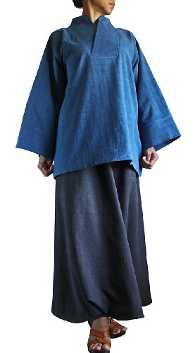 記事全国浴ジョムトン手織綿の着物風オリエンタルプルオーバー