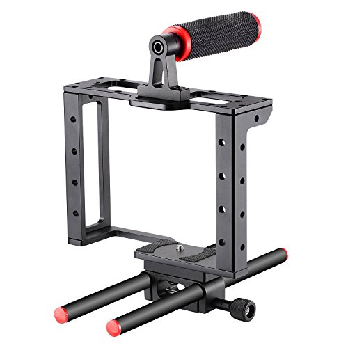 Neewer Camera Video Cage Film Movie Making Kit: (1)Camera Video Cage,(1)Handle Grip,(2)15mm Rod for Canon Nikon Sony and Other DSLR Cameras to Mount Matte Box, Follow Focus(Aluminum Alloy, Red/Black) by Neewer