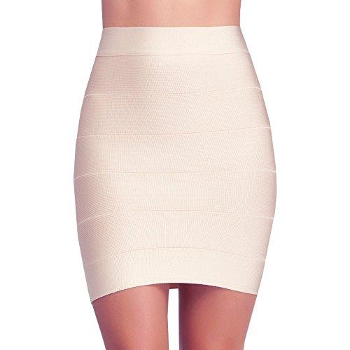 HLBandage Solid High Waist Mini Bandage Pencil Skirt (M, Nude) ()
