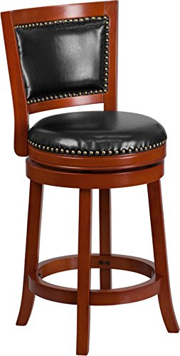 - 1PC 26'' High Light Cherry Wood Counter Height Stool with Black Leather Swivel Seat