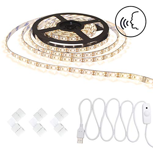 Smart Voice Control Led Strip Light Waterproof Warm White Stepless Dimmable USB 5v Tape Rope Light 16.4ft/5m 300 Units SMD 3528 LEDs for Makeup, Party, Decoration by Tronsnic (Warm White) ()