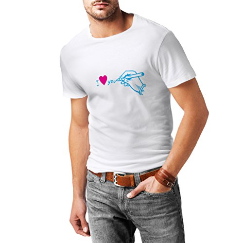 "T shirts for men I ""love you"" St. Valentines Day gifts, outfits (XXX-Large White Blue)"