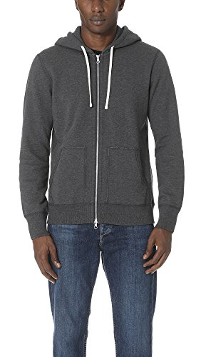 Reigning Champ Men's Mid Weight Terry Full Zip Hoodie, Charcoal, Small (Full Zip Terry Shirt)