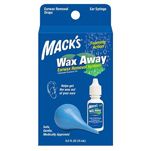Macks Wax Away Earwax Removal System - 0.5 FL OZ Ear Drops with Ear Syringe