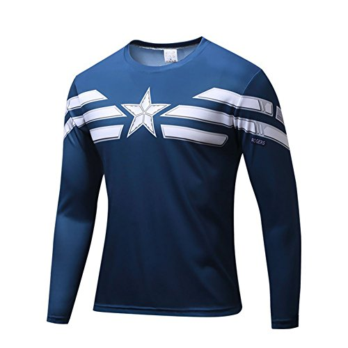 Super Hero Costume Compression T-Shirt Tight Cycling Clothes Sport T-Shirt (L, Captain Long Sleeve) ()