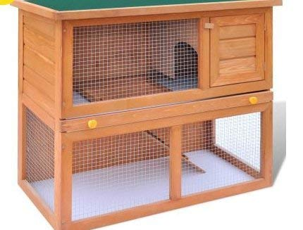 SKB Family Outdoor Rabbit Hutch Small Animal House Pet Cage 1 Door Wood Frame