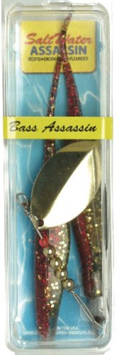 Bass Assassin Saltwater 5 Mac Daddy Spinner-Pack of 2, Lead/Red Eye/Red/Gold Shiner, 1/8 Oz. (Ounce 0.125 Shiner)