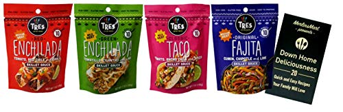 Tres Latin Foods Gluten Free Mexican Simmer Sauce 4 Flavor Variety Plus Recipe Booklet Bundle, 1 each: Red Enchilada, Green Enchilada, Classic Taco, Fajita (7 Ounces) (Best Green Enchilada Sauce Recipe)