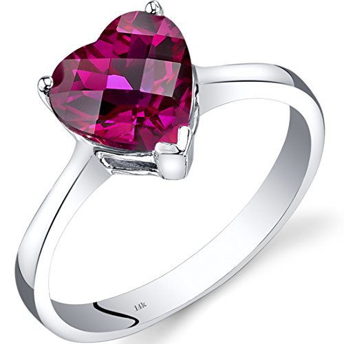 14K White Gold Created Ruby Heart Solitaire Ring 2.25 Carat ()