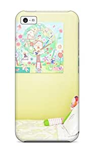 Andrew Cardin's Shop 1828425K76994809 Iphone 5c Case Cover Skin : Premium High Quality Girls Room With White Bedding And Green Pillow Case