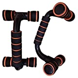 Khannika Portable Exercise Handstand Push Up Bar Stand Parallettes – For Men and Women Workout Supports Strength Hiit Yoga Rom Gymnastics Conditioning Exercise 1Pair (Orange)