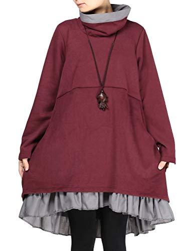 Mordenmiss Women's New Turtle Neckline Two Layers Hi-low Hem Dress L Burgundy