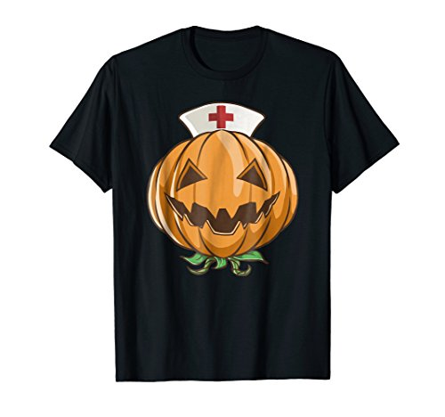 Halloween Pumpkin Nurse Shirt RN Funny Costume Scary -
