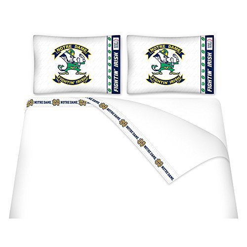 NCAA Notre Dame Fighting Irish Micro Fiber Sheet Set, Queen (Notre Dame Bedding)