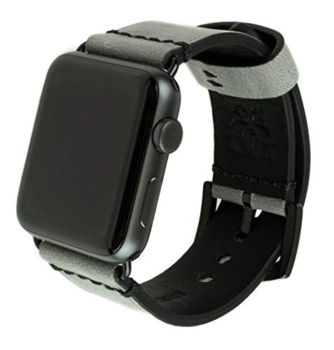 Grit & Grazia Premium Leather Band for Apple Watch 42mm or 44mm, Stylish Replacement Apple Watch Leather Band for iWatch Series 4, Series 3, Series 2, Series 1 with Stainless Steel Buckle (Gray)