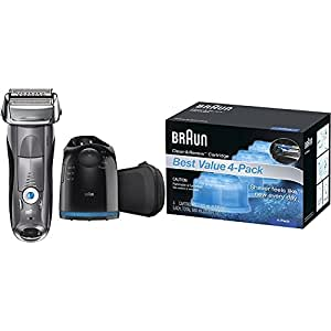 Braun Series 7 7865cc Wet & Dry Electric Shaver for Men with Clean & Charge System, Premium Grey Cordless Razor, Razors, Shavers, Pop up Trimmer, Travel Case, and 4 pack of replacement cartridges