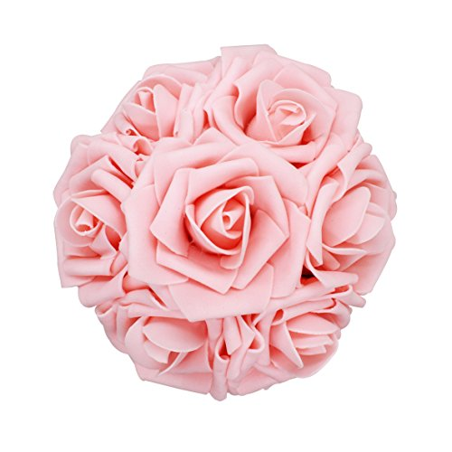 25pcs Artificial Flower,Real Touch Artificial Foam Roses Decoration DIY for Wedding Bridesmaid Bridal Bouquet Centerpieces Party (25, Peachy Pink) -