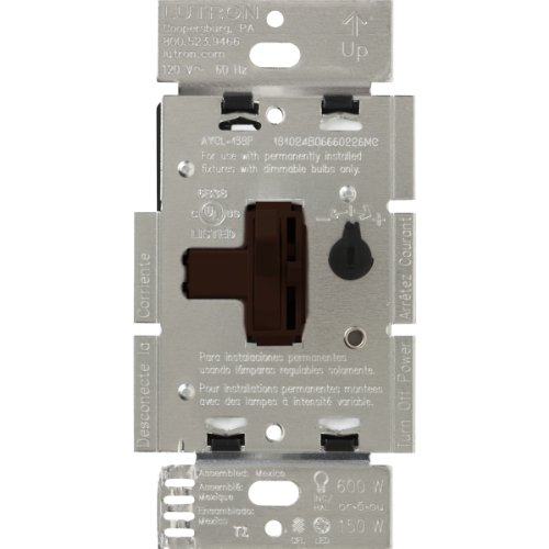 Coordinating Dimmer - Lutron Toggler C.L Dimmer Switch for dimmable LED, Halogen and Incandescent Bulbs, Single-Pole or 3-Way, AYCL-153P-BR, Brown