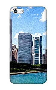 New Digitial Painting Of Downtown Chicago Skyline Tpu Case Cover, Anti-scratch Inthebeauty Phone Case For Iphone 5c
