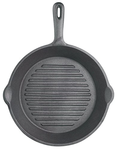 Kitchen Craft 24 cm Clearview Deluxe Cast Iron Round Ribbed Grill Pan ()