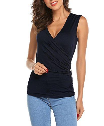 Sleeveless Wrap Blouse - Gfones Women's Sexy V Neck Sleeveless Wrap Blouse Slim Fit Ruched Tank Top, Navy Blue, Small