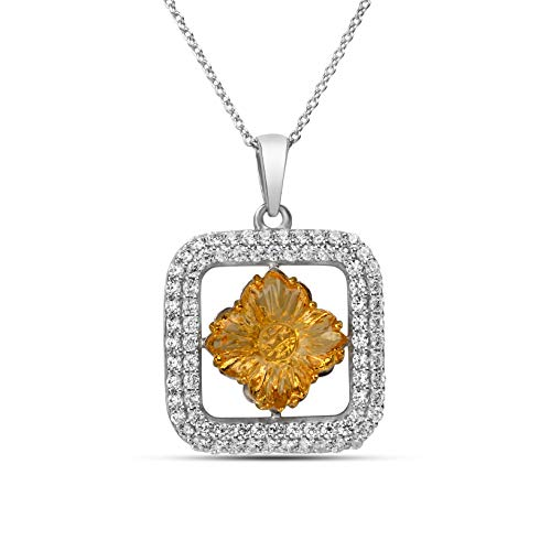 AYOS Inc Natural Gemstone Citrine (5.21 cttw) Pendant Hand Carved Healing Crystals Birthstone Gemstone Pendant Necklace Pendants for Women 925 Sterling Silver Gemstone Jewelry Gifts for ()