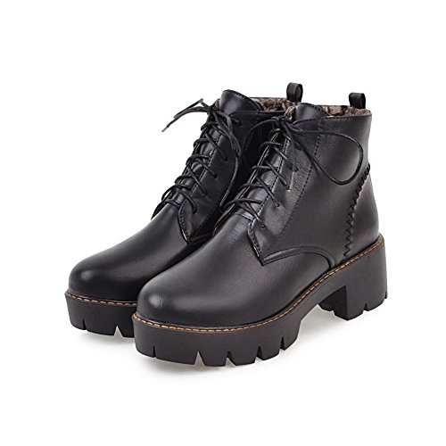 AgooLar Women's Velvet?Lining Round-Toe Kitten-Heels Lace-up Boots Black iIhMgukJw
